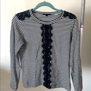 J. Crew long sleeved striped top w/lace appliqué